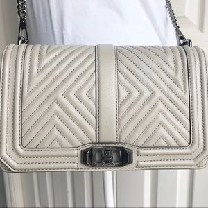 Rebecca Minkoff Geo Quilted Love Crossbody Taupe